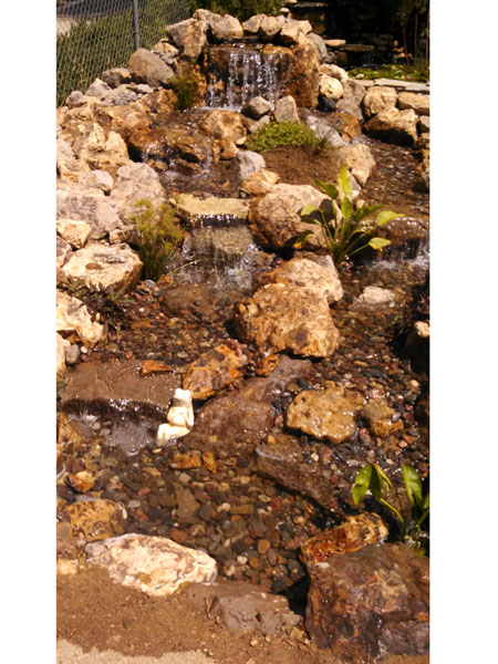 Pondless waterfall, pond construction, water fall without a pond