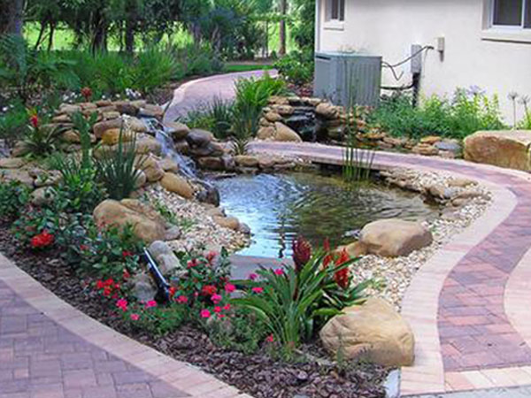 What is the difference between a koi pond and a water for Small garden with pond design