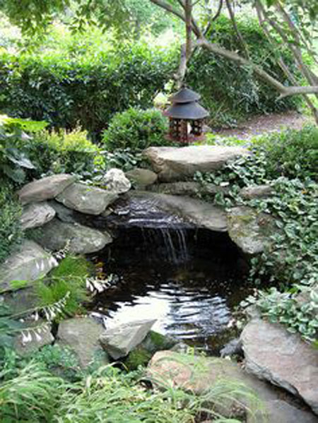 Pond with a cave, pond design ideas