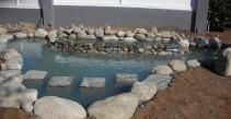Pond with stepping stone bridge