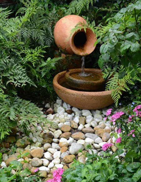 Urn fountain, Pondless fountain, Water fountain